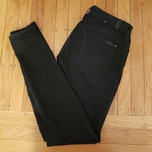 7 For All Mankind The Skinny Black Jeans, Size 27